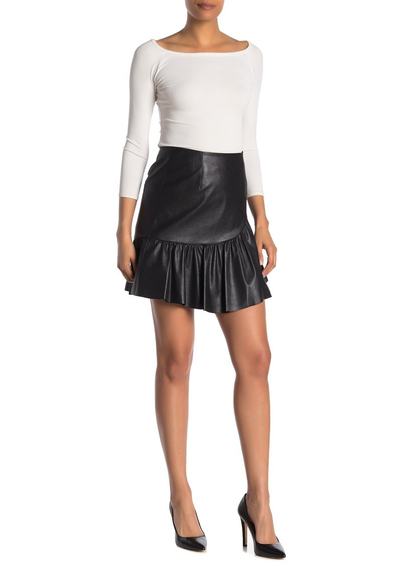 Rebecca Taylor Vegan Faux Leather Flounce Mini Skirt