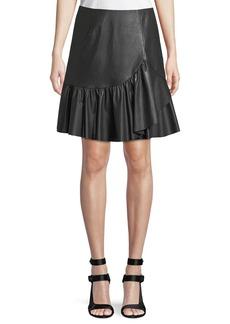 Rebecca Taylor Vegan Leather Faux-Wrap A-Line Skirt