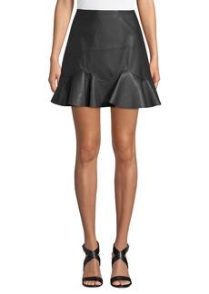 Rebecca Taylor Vegan Leather Flounce Mini Skirt