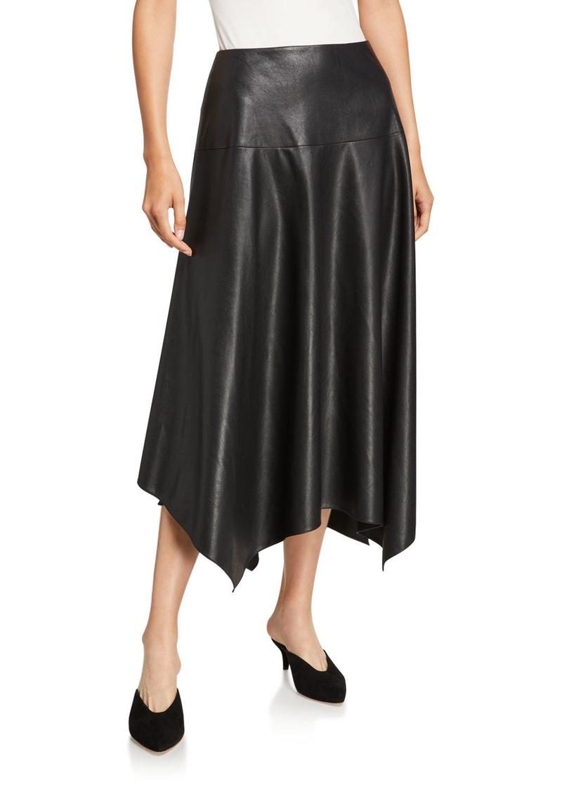 Rebecca Taylor Vegan Leather Handkerchief Midi Skirt