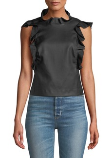 Rebecca Taylor Vegan Leather Ruffle Top