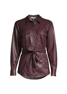 Rebecca Taylor Vegan Leather Self-Tie Belt Jacket