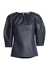 Rebecca Taylor Vegan Leather Three-Quarter Sleeve Top