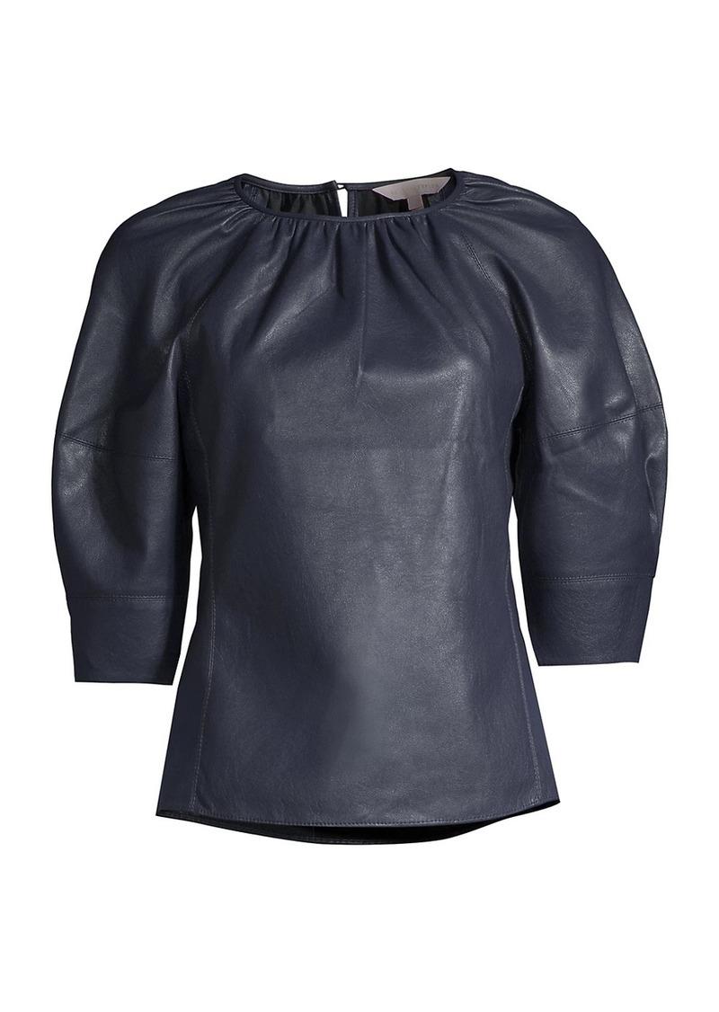 Rebecca Taylor Vegan Leather Three-Quarter Sleeve Top