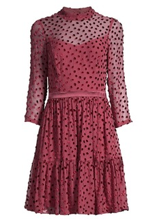Rebecca Taylor Velvet Polka Dot Silk-Chiffon Long-Sleeve A-Line Dress