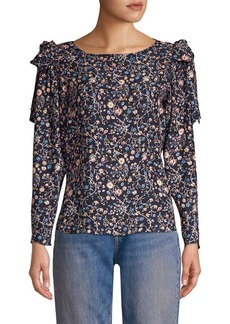 Rebecca Taylor Vivanna Floral Silk Long-Sleeve Top