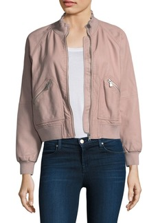 Rebecca Taylor Washed Leather Bomber Jacket