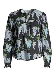 Rebecca Taylor Wisteria Floral Button Blouse