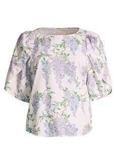 Rebecca Taylor Wisteria Floral Short-Sleeve Top