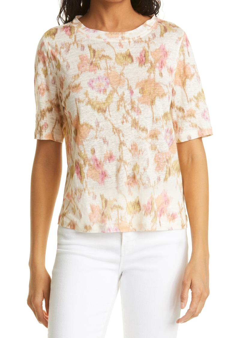 Rebecca Taylor Gloria Fleur Floral Linen T-Shirt