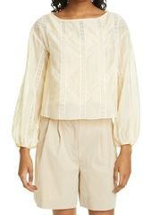 Women's Rebecca Taylor Lace Inset Long Sleeve Cotton & Silk Blouse