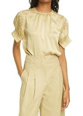 Women's Rebecca Taylor Short Sleeve Silk Charmeuse Blouse