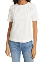 Rebecca Taylor Smock Detail Short Sleeve Pima Cotton Top