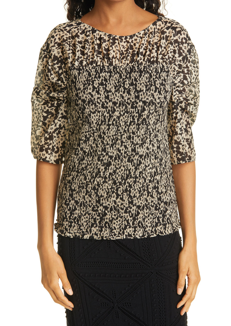 Women's Rebecca Taylor Smocked Ruched Sleeve Cotton & Silk Blouse