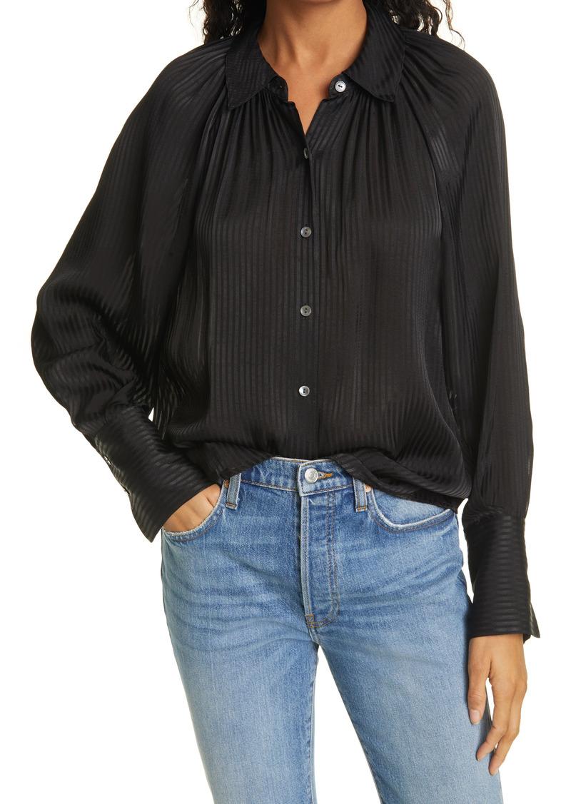 Women's Rebecca Taylor Tonal Stripe Long Sleeve Blouse