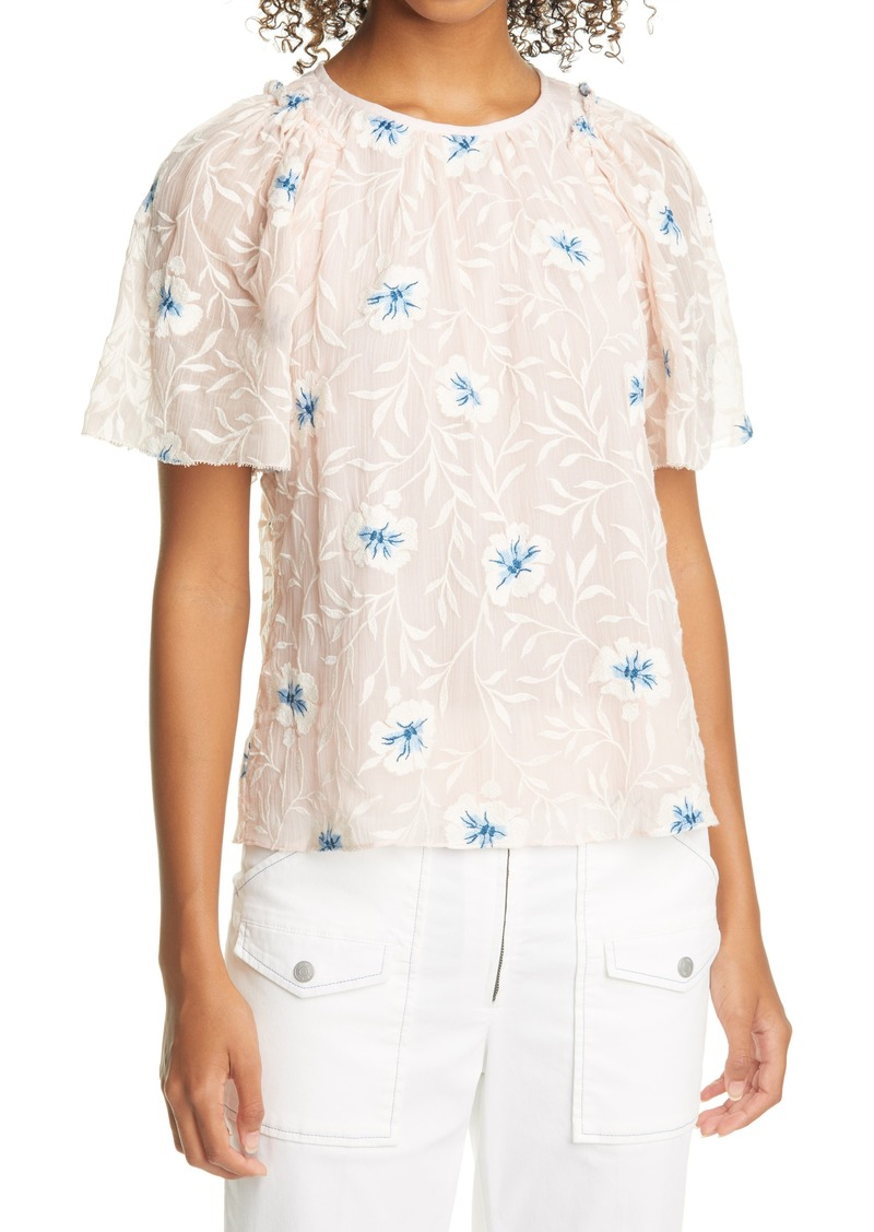 Women's Rebecca Taylor Trellis Embroidered Top