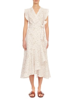 Rebecca Taylor Zadie Wrap Midi Silk Dress