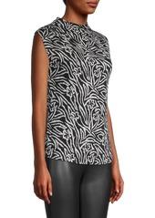 Rebecca Taylor Zebra Lily Cap-Sleeve Blouse