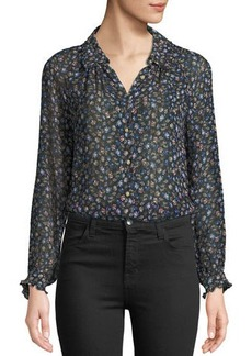 Rebecca Taylor Zelma Floral Button-Front Top