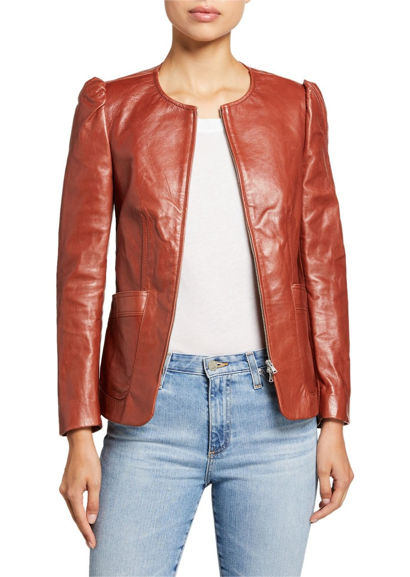 Rebecca Taylor Zip-Front Patch-Pocket Leather Jacket
