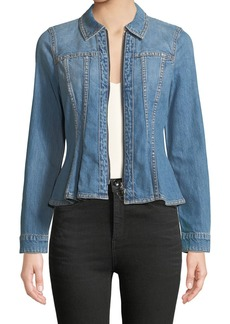 Rebecca Taylor Zip-Front Peplum Denim Jacket
