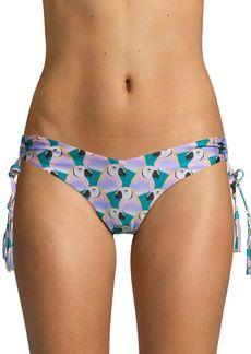 Red Carter Bird-Print Bikini Bottom
