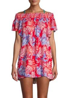Red Carter Floral-Print Off-The-Shoulder Swimdress