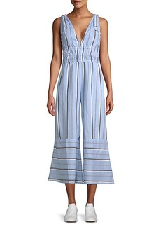 Red Carter Kelly Striped Chambray Jumpsuit