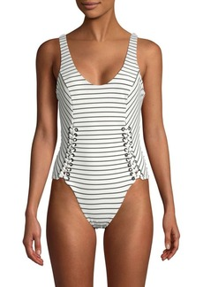 Red Carter Lace-Up Striped One-Piece