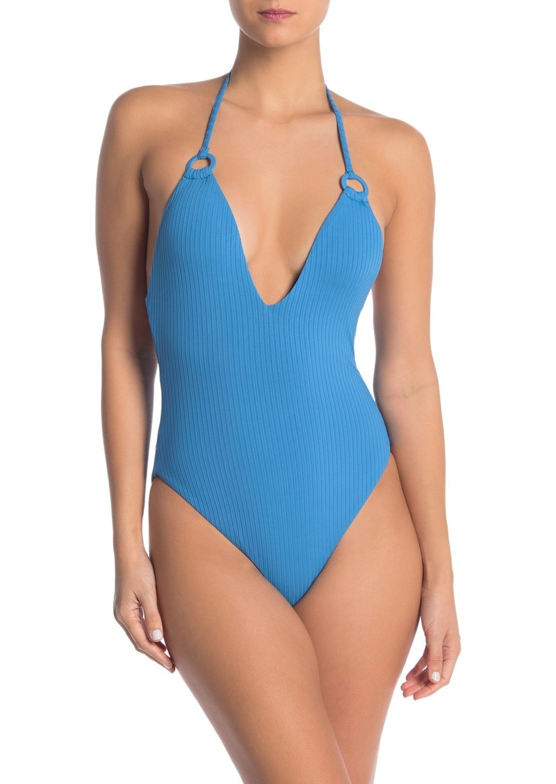 Red Carter Maillot Plunge One-Piece Swimsuit