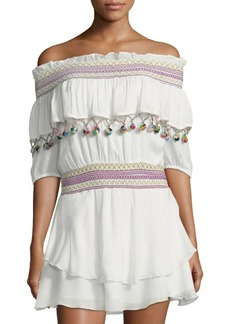 Red Carter Mira Off-The-Shoulder Cover-Up Dress