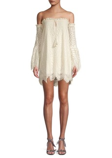 Red Carter Off-the-Shoulder Ruffled Lace Dress