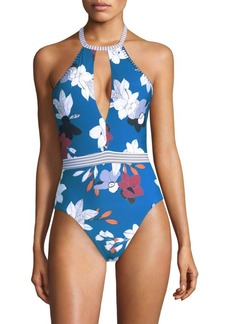 Red Carter One-Piece Halter Plunge Swimsuit