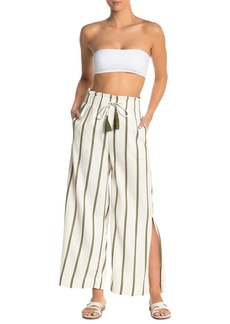 Red Carter Paris Stripe Print Slit Beach Pants