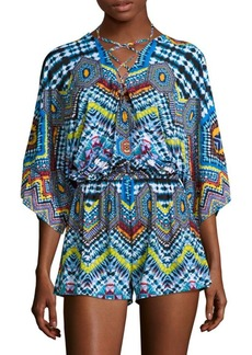 Red Carter Printed Kimono-Sleeve Cover-Up