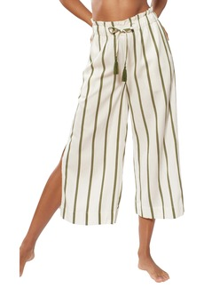 Red Carter Paris Stripe Side Slit Wide Leg Beach Pants