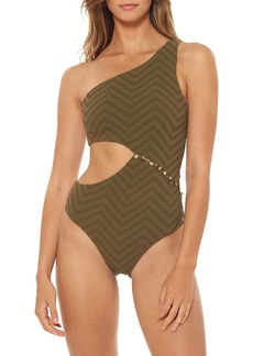 Red Carter Peri Asymmetrical One-Piece Swimsuit