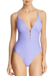 Red Carter Ribbed Plunge One Piece Swimsuit