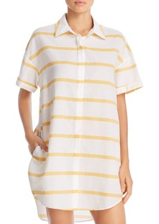 Red Carter Striped Shirt Tunic Cover-Up