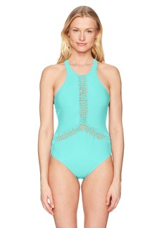 89c32f8805c4 Red Carter Women's Macrame High Neck Maillot Bathing Swim Suit XS