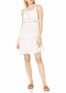 Red Carter Women's Splice & Dice Shoulder Tie Cover Up Swim Dress  L
