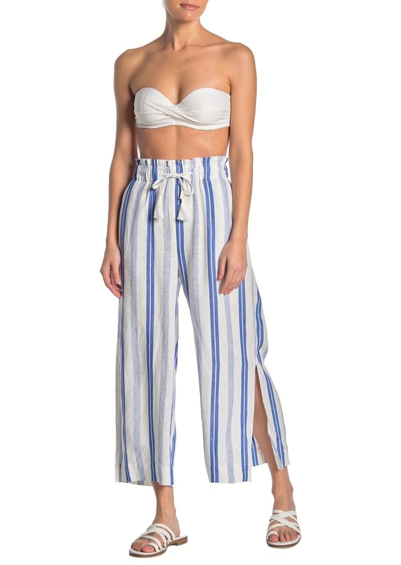 Red Carter Stripe Linen Blend Beach Pants