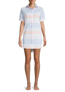 Red Carter Striped Cotton Cover-Up Tunic