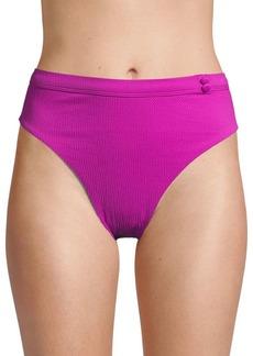 Red Carter Textured Bikini Bottom
