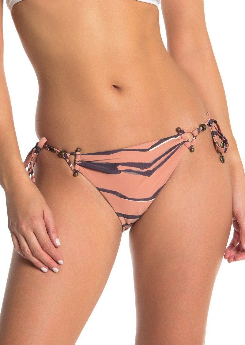 Red Carter Tiger Stripe Print Side Tie Bikini Bottoms
