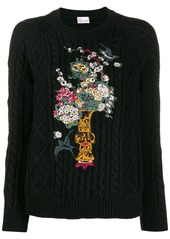 RED Valentino RED(V) floral embroidered knitted sweater