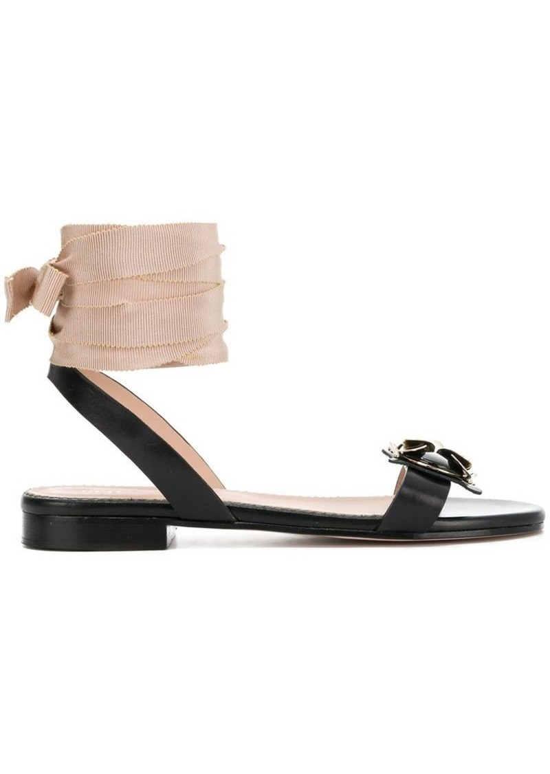 ba1edd38693 RED Valentino bee embellished ankle tie sandals