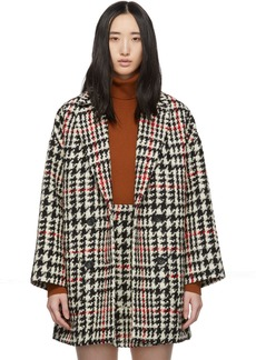 RED Valentino Black & Red Check Tweed Coat