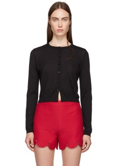 RED Valentino Black Cashmere & Silk Cropped Cardigan