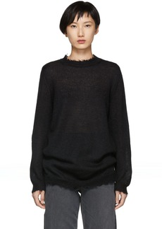 RED Valentino Black Distressed Mohair Knit Sweater